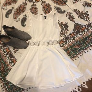 White Summer Dress with a Floral Wrap